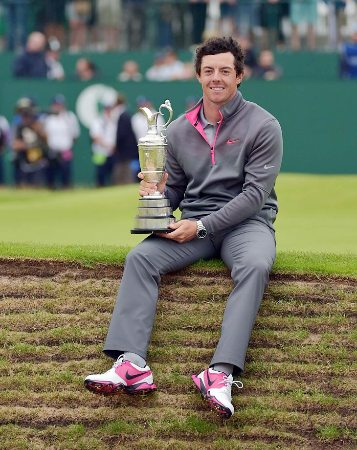 Rory McIlroy is pictured with the Claret Jug after shooting 17-under to win the 2014 Open Championship.