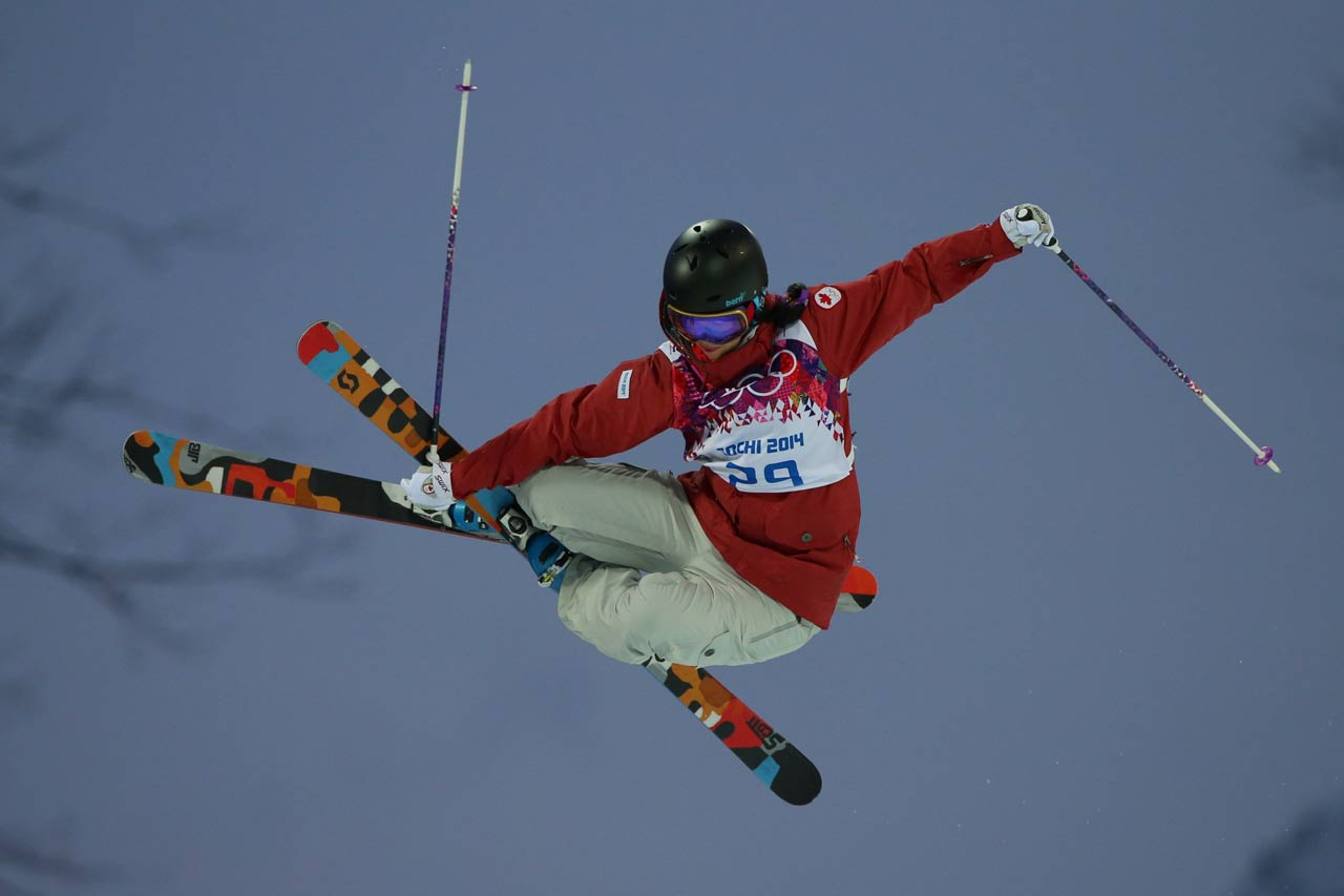 Rosalind Groenewoud in the Ski Halfpipe qualifications.