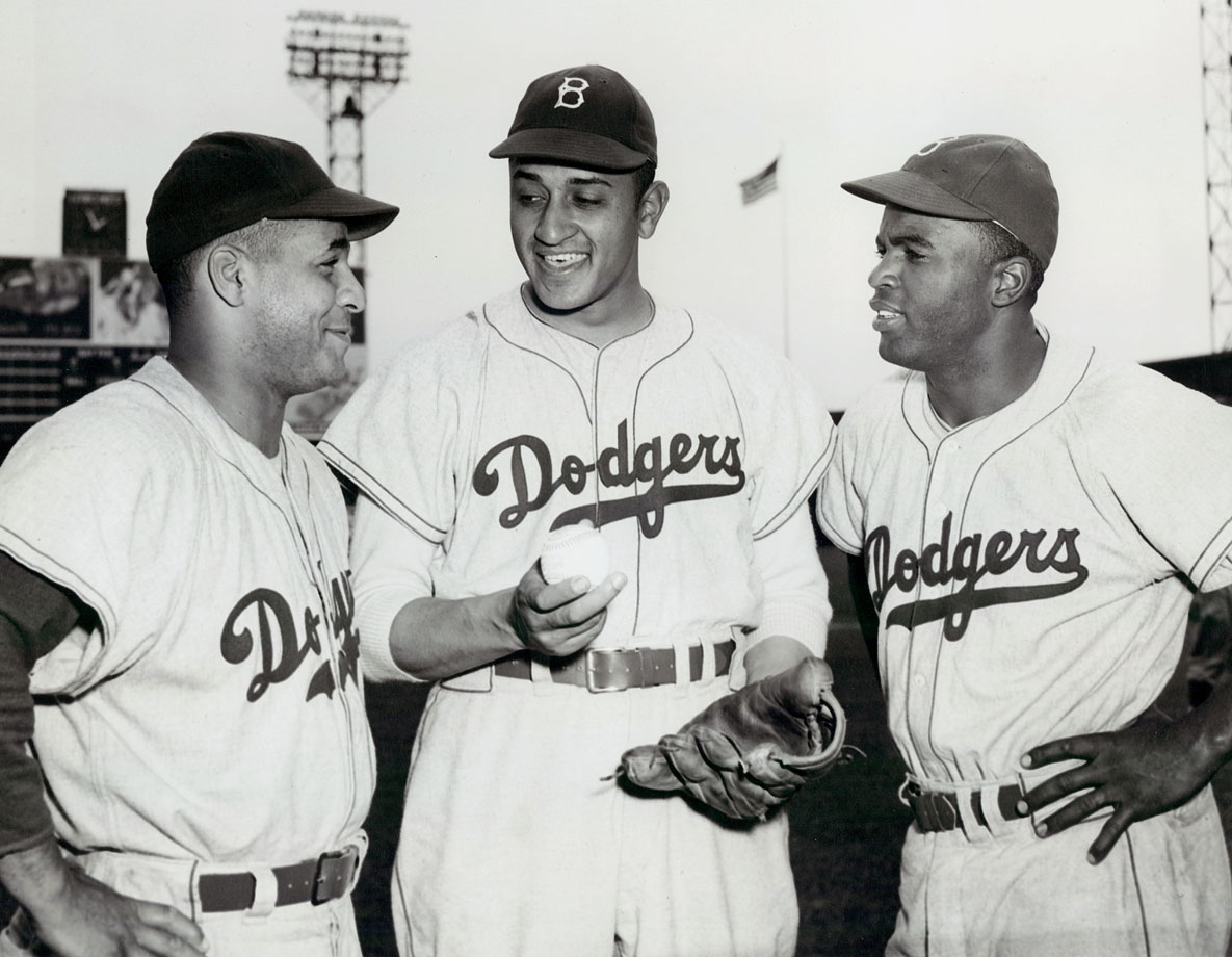 Roy Campanella, Don Newcombe and Jackie Robinson pose together circa 1950. Campanella joined the Dodgers in 1948, and Newcombe the following year.
