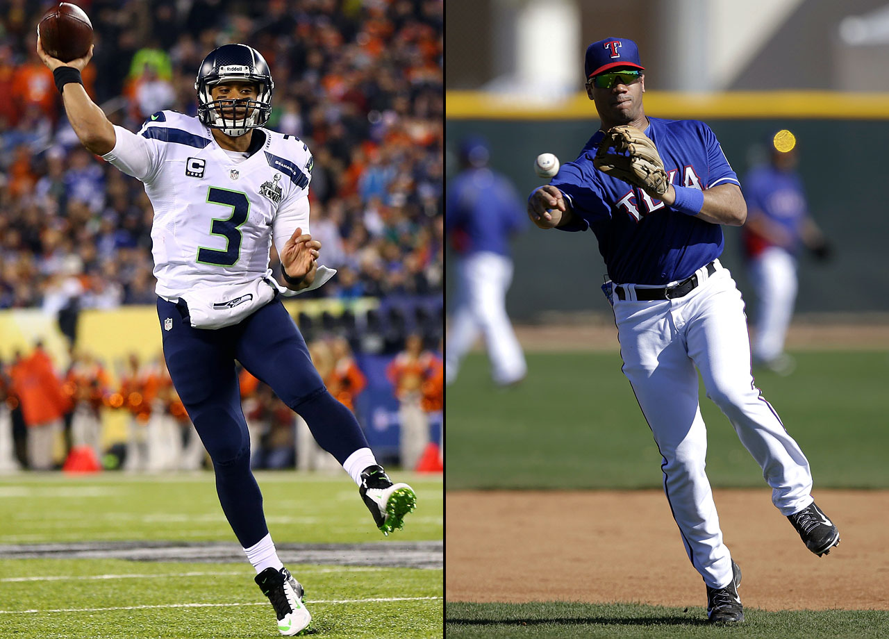 "Seattle Seahawks quarterback Russell Wilson participated in the Texas Rangers' spring training in both 2014 and 2015, resuming his baseball career that began in high school, continued in college at North Carolina State and saw him drafted three times. Wilson's rights are owned by the Rangers, but when asked what would happen if he were traded to the Mariners, Wilson said he would ""definitely consider"" playing. Wilson has made three Pro-Bowls and two Super Bowls in four NFL seasons with Seattle, winning Super Bowl XLVIII."