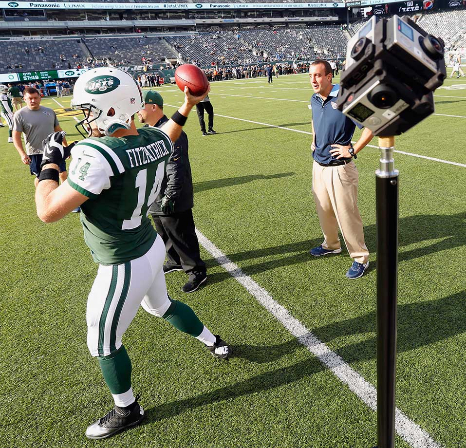 New York Jets quarterback Ryan Fitzpatrick warms up in front of a virtual reality camera before a game against the Tennessee Titans on Dec. 13, 2015 at MetLife Stadium in East Rutherford, N.J.