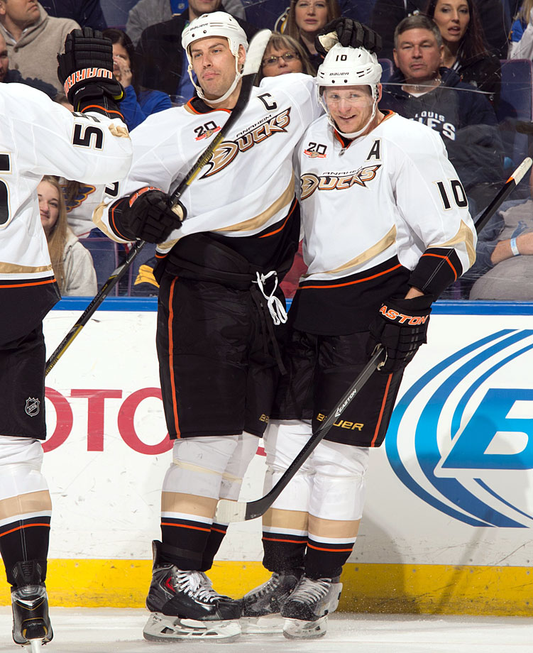 The first round of the 2003 draft yielded one of the league's finest offensive duos, with Anaheim taking center Ryan Getzlaf at No. 19 and winger Corey Perry at No. 28. They made their NHL debuts two years later and by 2007 were skating the Stanley Cup for the first team from California to win the chalice. Each beings size (Getzlaf is 6-4, 221; Perry 6-3, 212), scoring and sandpaper to the ice. Perry won the Hart and Richard Trophies by scoring 50 goals in 2010-11. Getzlaf, the Ducks' captain, was a Hart finalist for 2013-14.