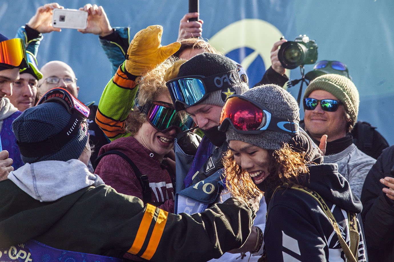 Fellow competitors Yuki Kadono, Eric Beauchemin and others congratulate Kyle Mack on his victory. Mack earned the 89.75 that won him the event on his first run and it stuck the rest of the way, but he had to sit, watch and hope no one would best him as he did not land successfully again on his final two runs.