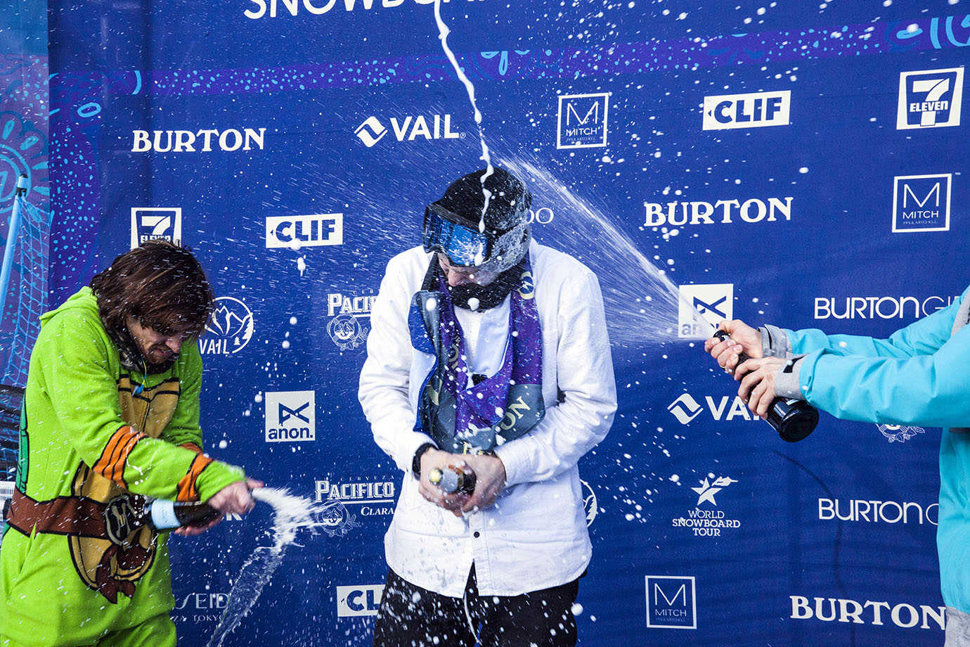 Mack, 18, was given a bottle of apple cider to celebrate with, but no bottle opener. That and his position in the middle of the podium made him an easy target for Toutant and Beauchemin, both of whom are of age.