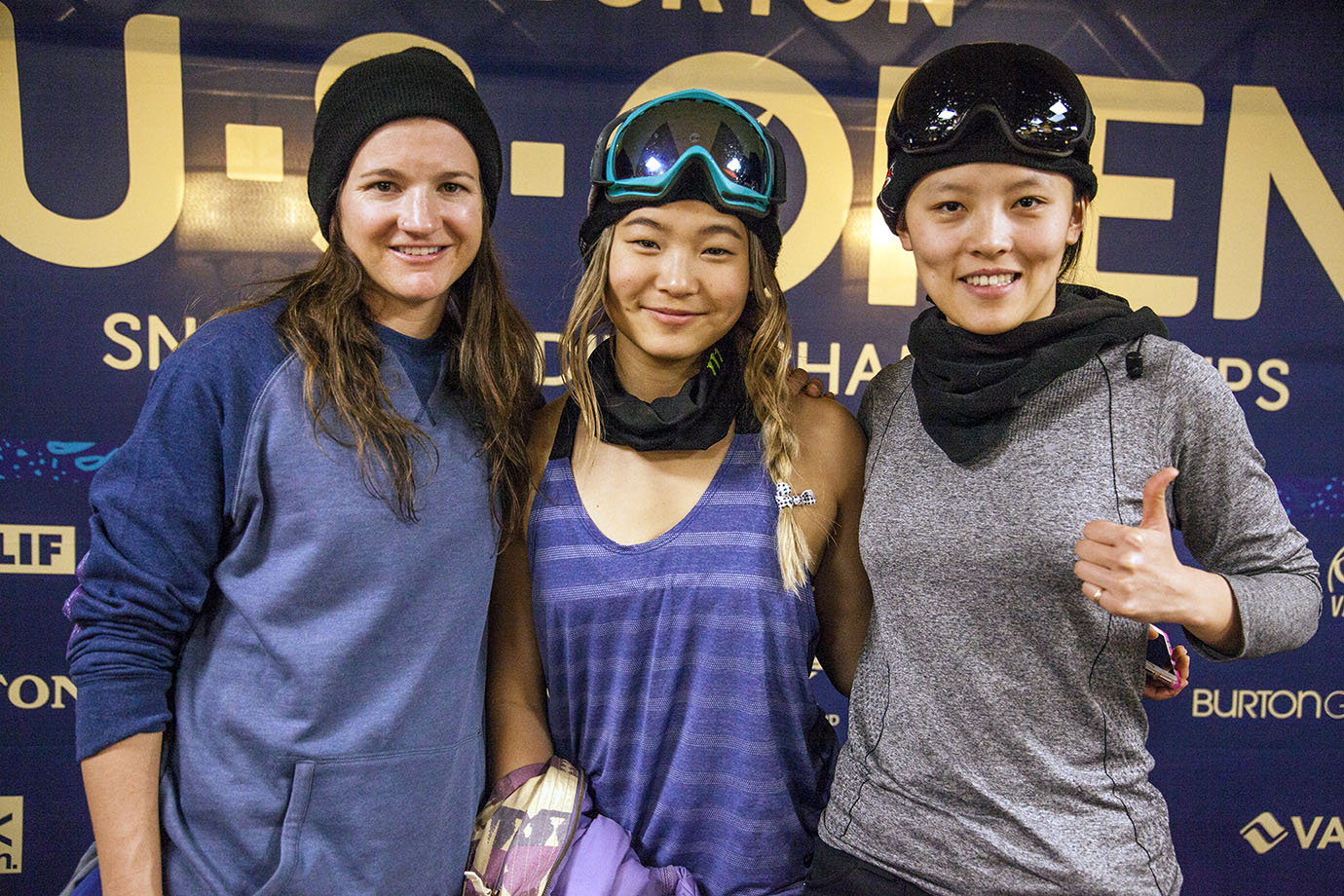 The trio of winners from the women's Superpipe final from left to right: Clark, Kim and Cai.