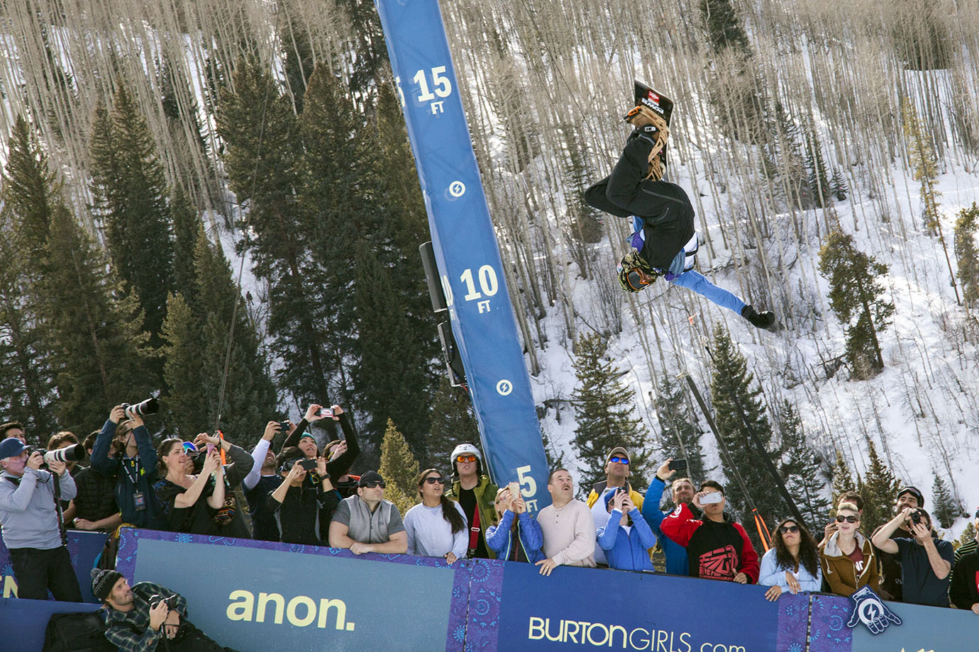 Two-time X Games snowboard SuperPipe champion Danny Davis competing in the finals at the 2016 Burton U.S. Open. Davis finished eighth among a very stacked lineup of riders.