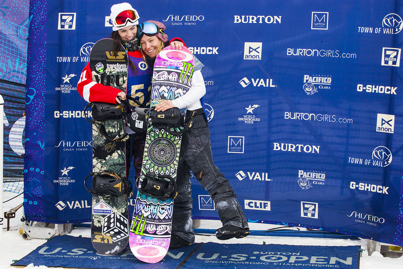 Jamie Anderson and Karly Shorr embrace just before the winners are announced. X Games Oslo women's snowboard Big Air winner Cheryl Maas rounded out the top three.