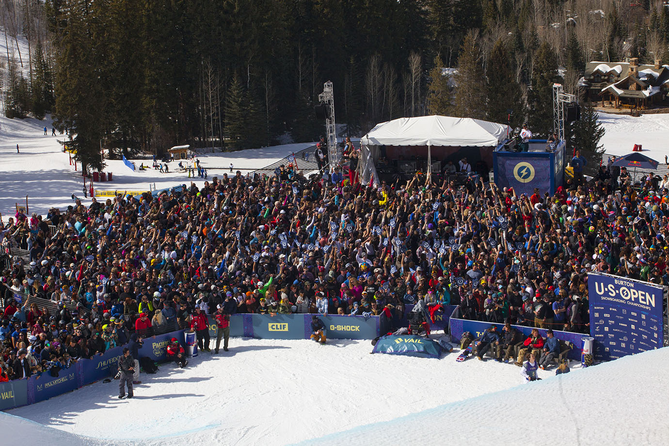 A large crowd gathers Friday afternoon to watch the men's Slopestyle final at the 2016 Burton U.S. Open in Vail, Colo.