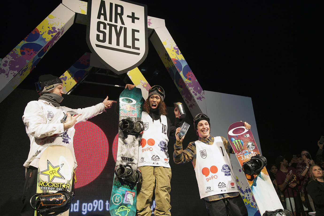 The 2016 Air+Style L.A. podium: winner Yuki Kadono (center), 2nd place Kyle Mack (left) and 3rd place Sven Thorgren.