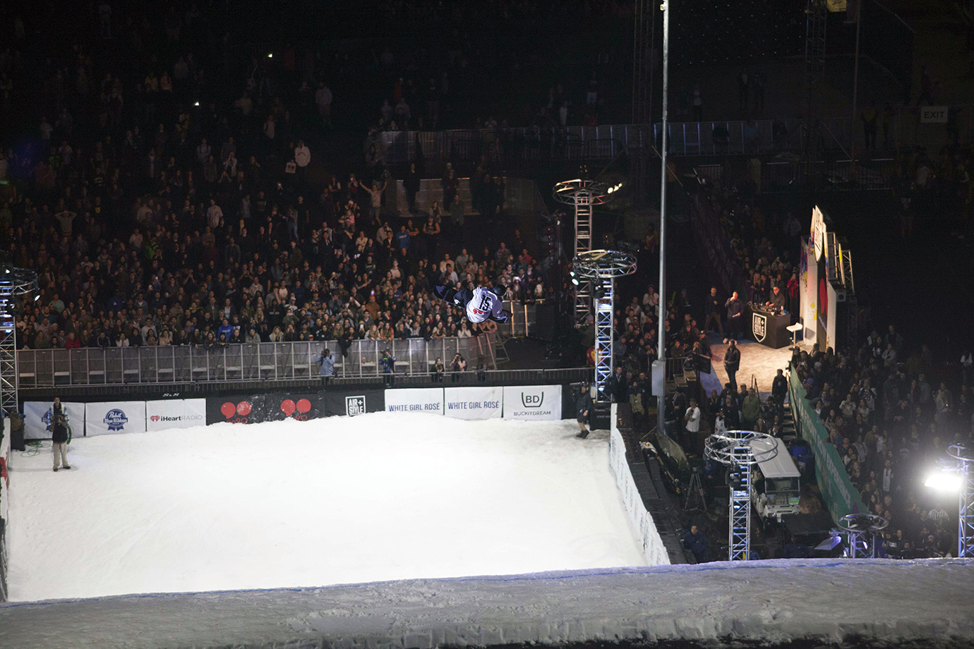 Canada's Darcy Sharpe drops over the L.A. crowd during qualifications. Riders had three runs each to secure a top-16 score that would see them through to the final.