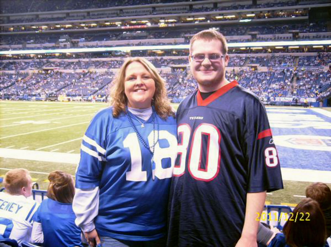 @SInow Colts mom and Texans son in Lucas Oil Stadium. #KeepGoodGoing #MothersDay