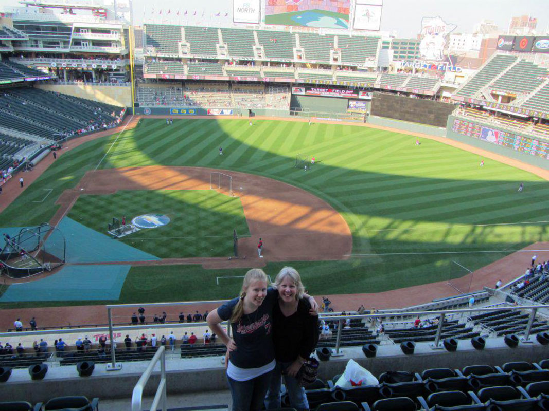 @SInow My mom & I went to all 30 @MLB Stadiums! This is us @ 1 of our faves, @Twins' Target Field. #KeepGoodGoing