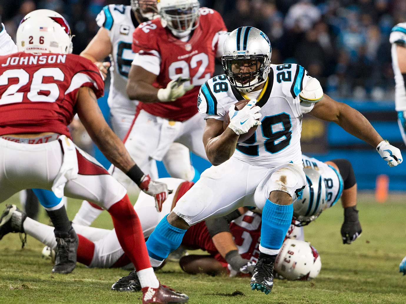 Jonathan Stewart runs the ball in for a touchdown.