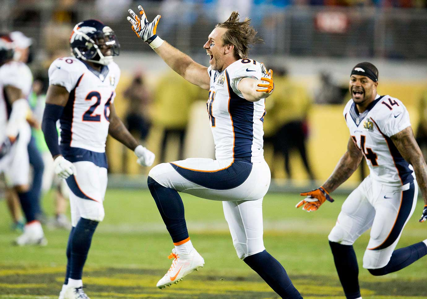 Denver tight end Owen Daniels celebrates the Broncos' victory.