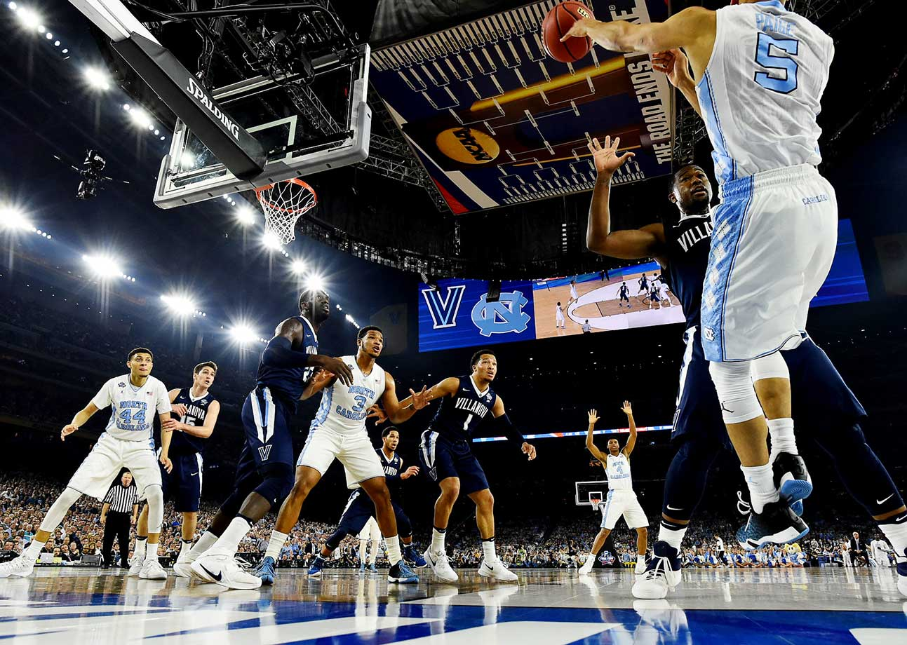Marcus Paige inbounds the ball against the Villanova defense.