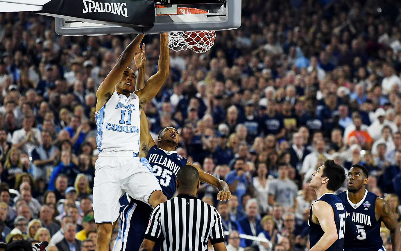 Brice Johnson had one of the signature moments in the first half, throwing down a massive dunk on an alley-oop pass.