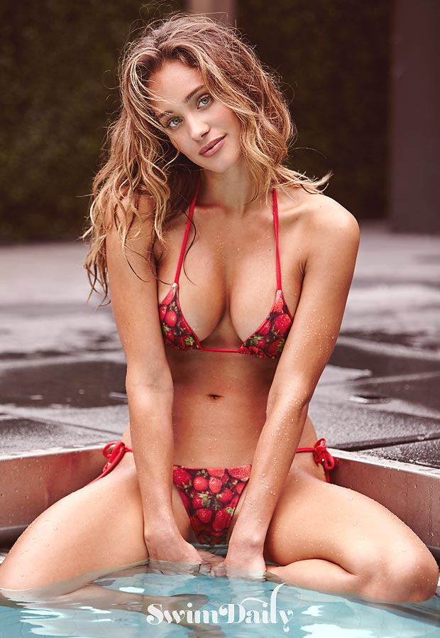 Summer of Swim featuring Hannah Davis. Suit by Ola Vida.