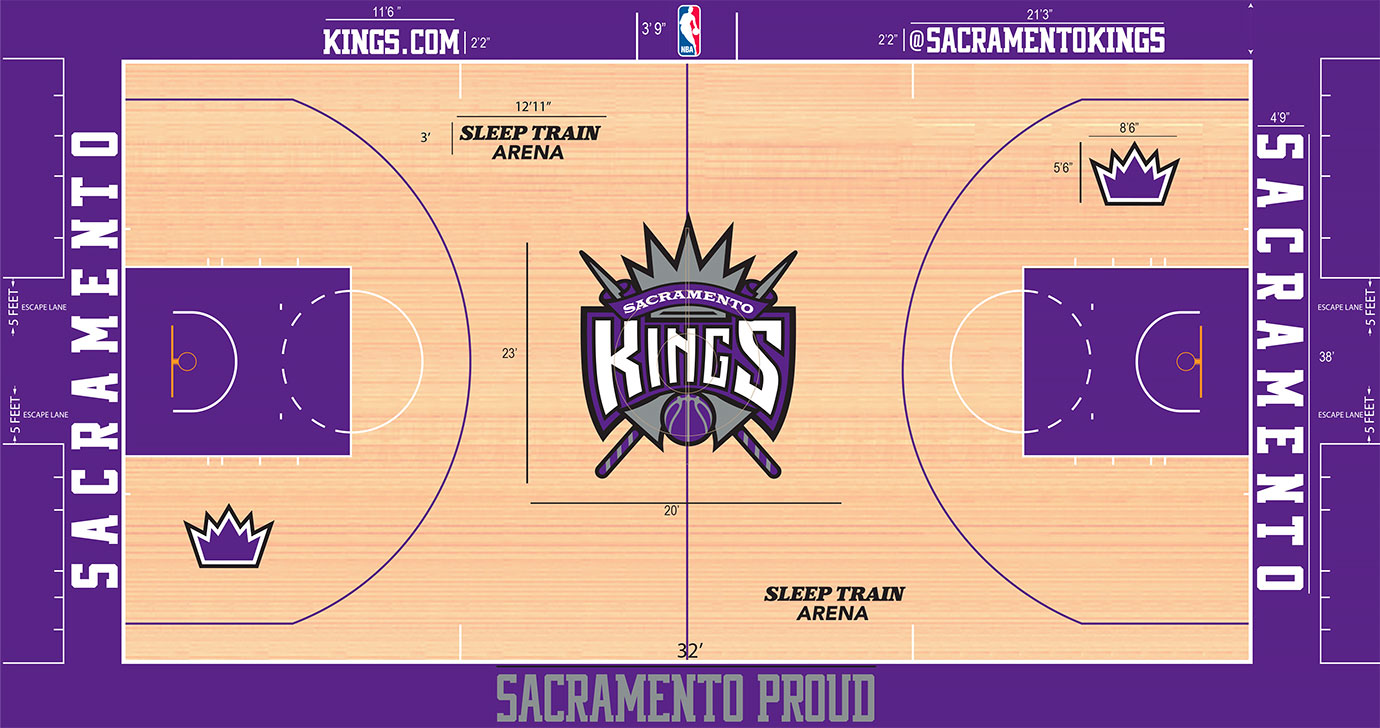 "Let's hope you enjoy purple, because you get plenty of it in Sacramento, where ""Sacramento Proud"" runs along the sideline apron. The best touch comes with the purple crowns, one inside each three-point arc."