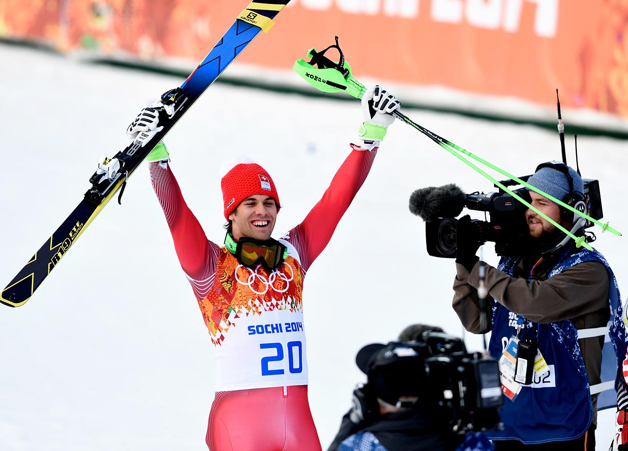 Sandro Viletta of Switzerland wins the gold in the Men's Super Combined Slalom.