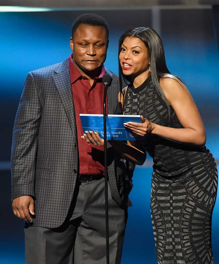 Barry Sanders  and actress Taraji P. Henson speak onstage during the 5th Annual NFL Honors program.