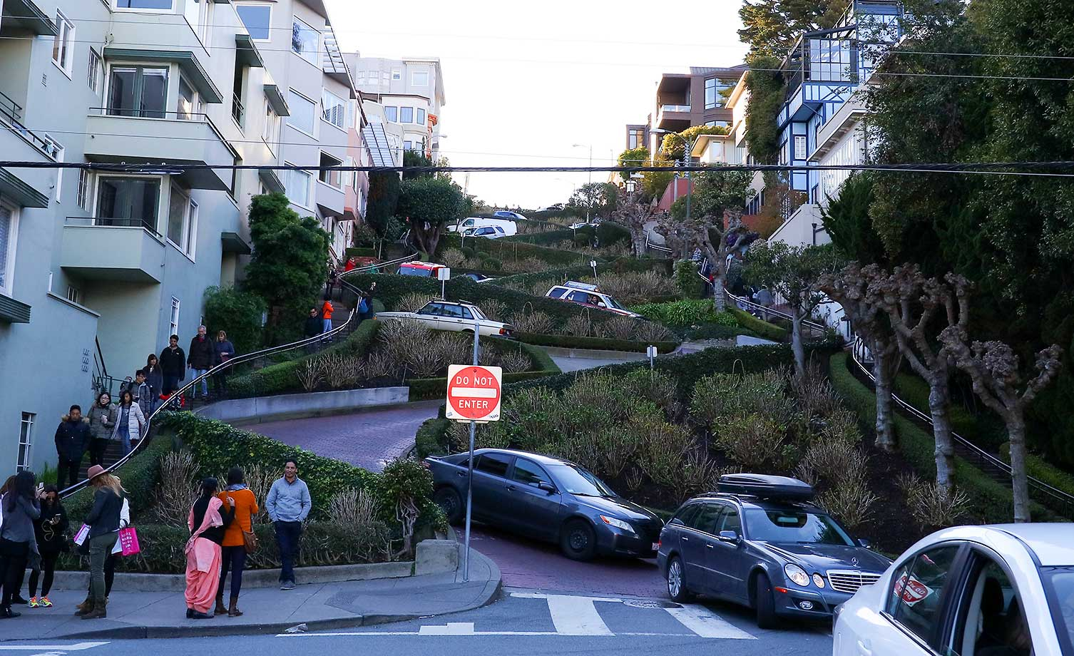 San Francisco's very crooked and busy Lombard Street full of cars and tourists in the days before Super Bowl 50.