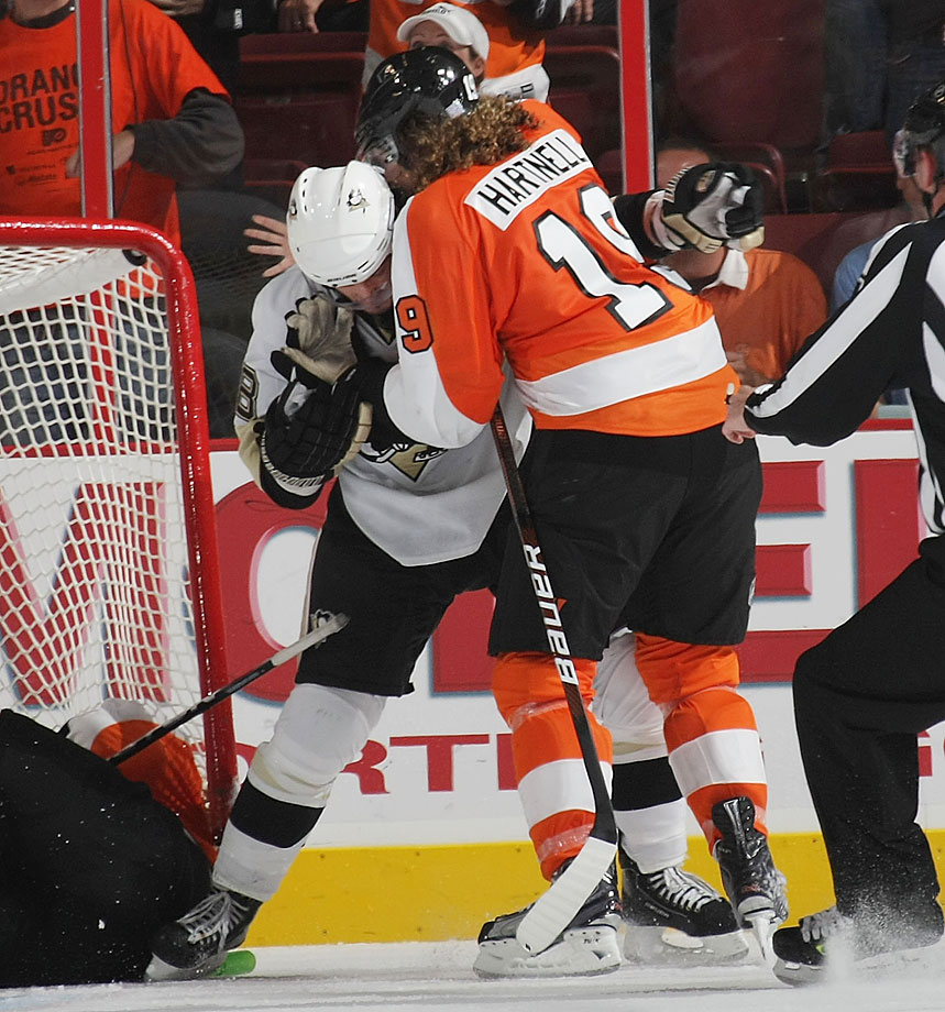 "During an Oct. 2009 game Pittsburgh defenseman Letang learned that applying a facewash to a bitter rival during a dust-up is an occupational hazard. Flyer Hartnell denied taking a bite of Penguin but admitted that, ""a lot of stuff happens on the bottom of the pile. He had his hands in my face doing the face-wash and we're rolling around. I can't say what happened."" Certainly not."