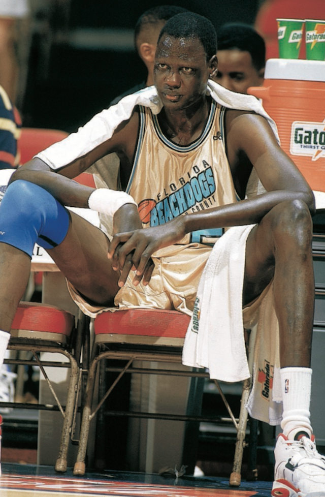 Florida Beachdogs Manute Bol (50) on bench during game vs Sioux Falls Skyforce at Palm Beach Auditorium. Continental Basketball Association.