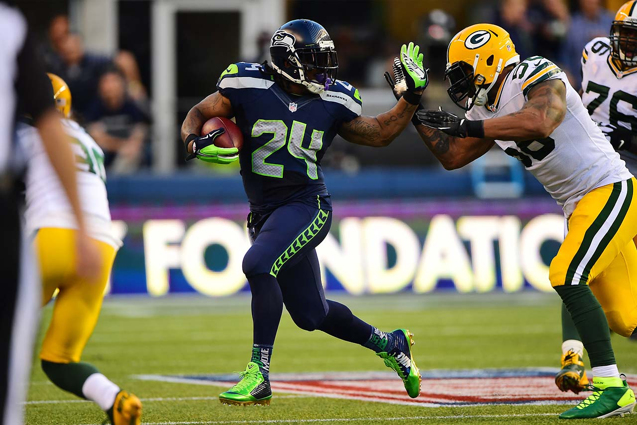 Marshawn Lynch was in his usual beast-mode, bulldozing his way to 110 yards and two touchdowns on 20 carries.