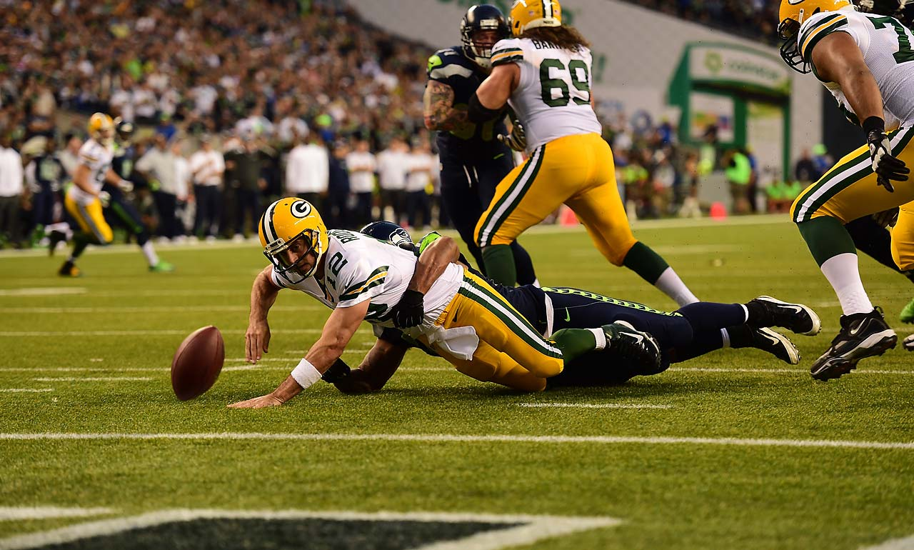 Michael Bennett caused this Aaron Rodgers fumble, which resulted in a safety.