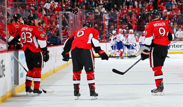 The Senators watch the Canadiens celebrate after Montreal scored in OT of Game 3 in their first-round series.