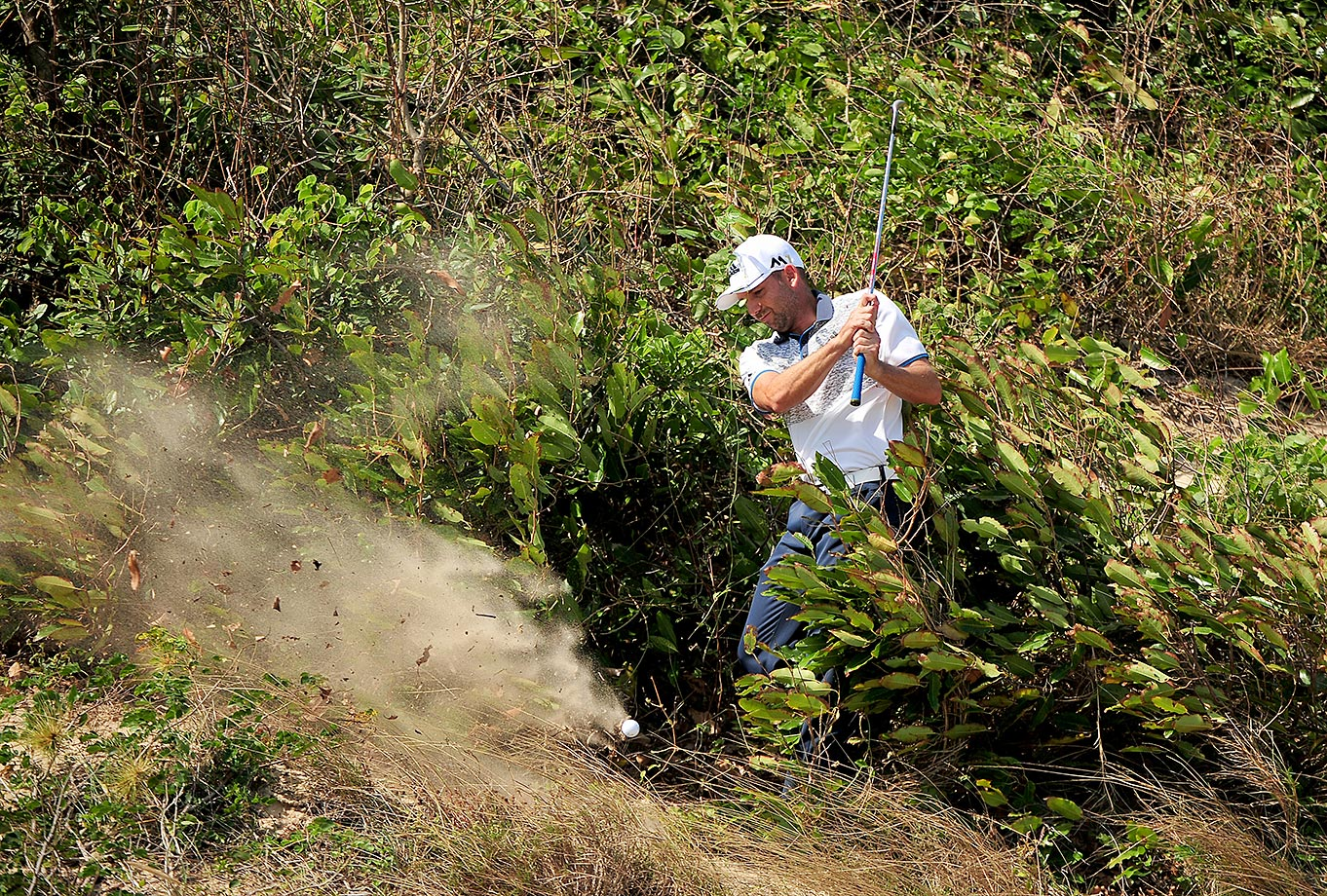 Sergio Garcia plays a shot during round two of the Ho Tram Open in Vietnam.