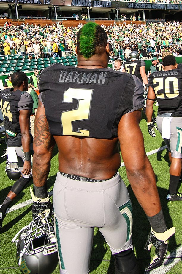 Shawn Oakman of Baylor walks to the sidelines before a game against West Virginia. Baylor went on to beat West Virginia 62-38.