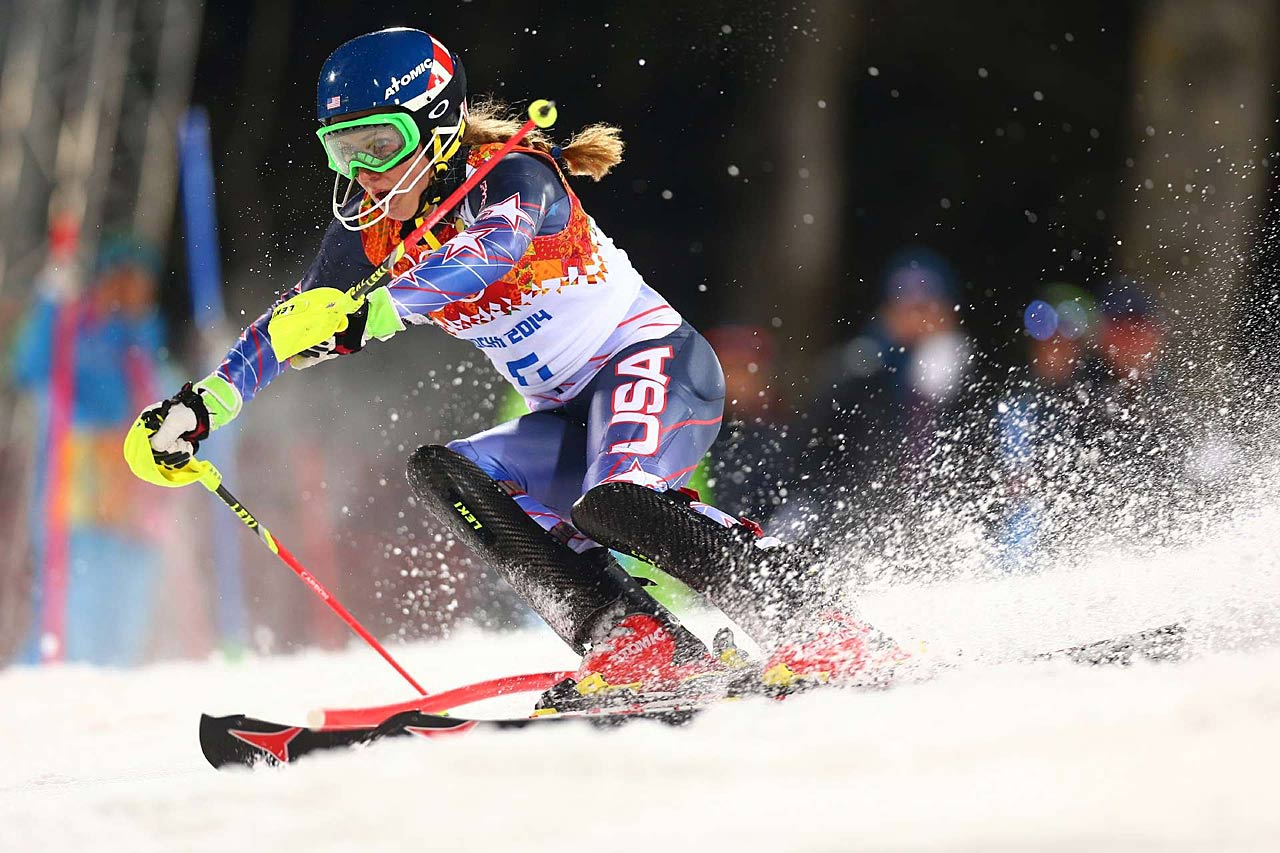 Combined with her second run (pictured), Shiffrin finished 0.53 seconds faster than Marlies Schild of Austria, one of Shiffrin's childhood favorites.