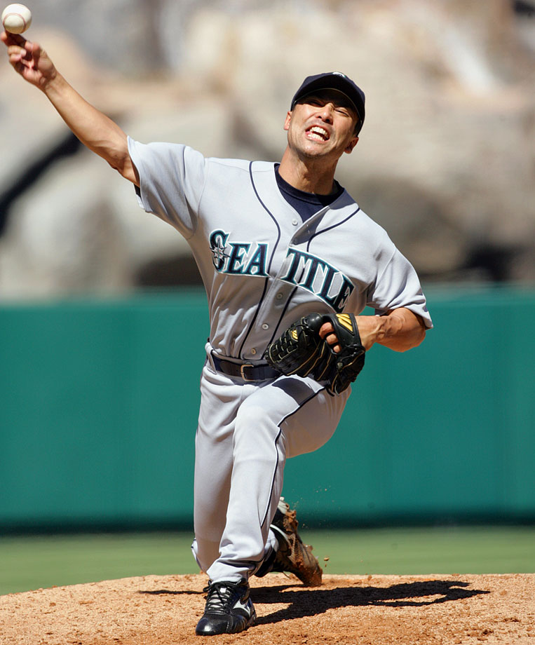 Coming on the heels of Nomo-mania, Hasegawa was the first player traded from Japan to the majors. Before the 1997 season, the Angels paid about $1 million to the Orix Blue Wave and $350,000 to Hasegawa, who was a starter in Japan but proved more useful as a reliever in the States, posting a 3.70 ERA in nine major league seasons.