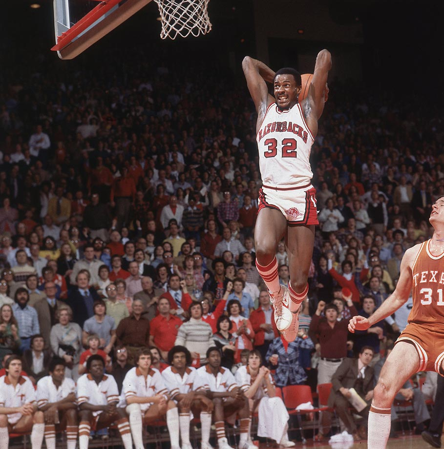 Along with Marvin Delph and Ron Brewer, Moncrief brought Arkansas back from nearly two decades of mediocrity. The Triplets, as the trio was known, got the Razorbacks into the NCAA tournament in 1977 for the first time since 1958. Moncrief contributed 17.3 points and 7.7 rebounds per game as Arkansas went 32-4 in 1977-78, making its first Final Four in school history. Moncrief scored 21 points and grabbed 11 rebounds to lead the Razorbacks past UCLA in the Sweet 16. A first-team All-America in 1979, Moncrief averaged 22.0 points and 9.6 rebounds to propel Arkansas to the Elite Eight. Arkansas' three NCAA tournament appearances with Moncrief began a streak of nine straight years and 22 of 25 in which the Razorbacks reached the tournament.