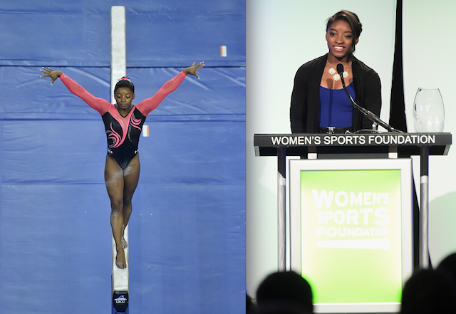 Simone Biles addresses the crowd at the 35th Annual Salute to Women in Sports