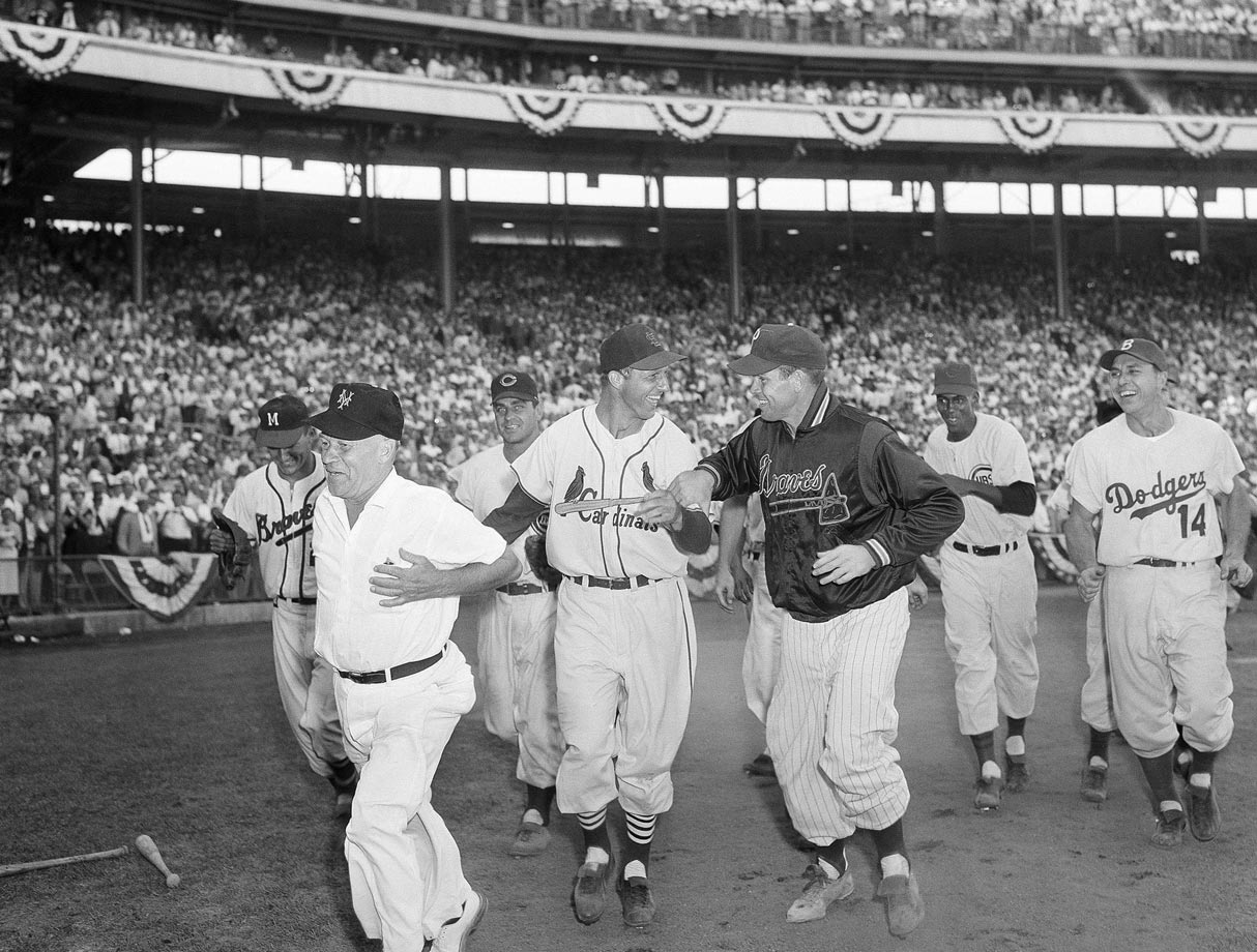 The second walk-off home run in All-Star history was Musial's solo shot off Boston's Frank Sullivan in the bottom of the 12th inning in 1955. For Musial, who joins Aaron and Mays as one of just three men to appear in 24 All-Star games, that was the fourth of his record six All-Star game home runs. As large a role as Musial played in All-Star game history, however, he fits best on this team as the designated hitter because of his lack of a consistent position. Musial started 14 All-Star games, 10 of them in the outfield and four at first base, but during his regular-season career, he played more games at first than any single outfield position. Of his 10 outfield starts in the Midsummer Classic, five came in left, three in center and two in right.