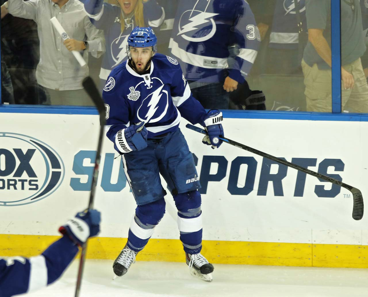 Cedric Paquette (13) of the Lightning celebrates his goal and the first score of the game for either team.