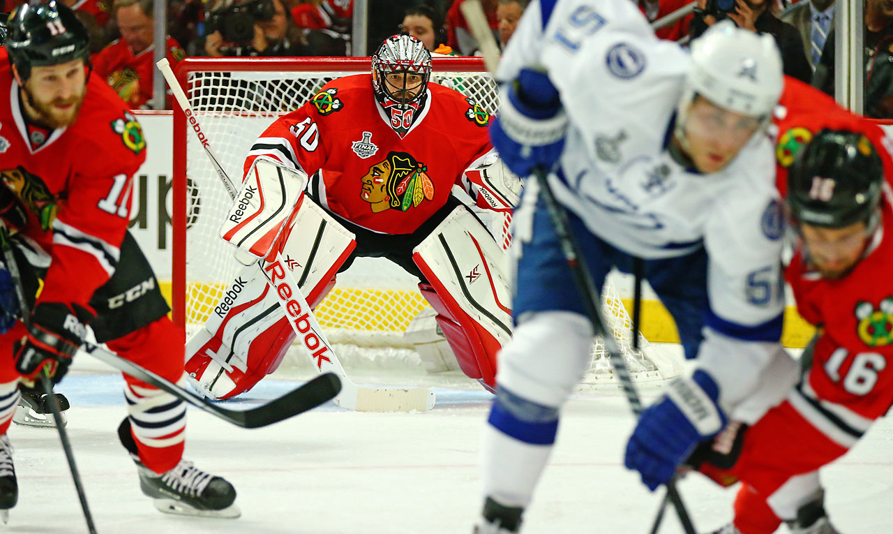 Corey Crawford stopped 24 shots Wednesday night as the Chicago Blackhawks tied the Stanley Cup Final with a 2-1 victory at home against Tampa Bay.