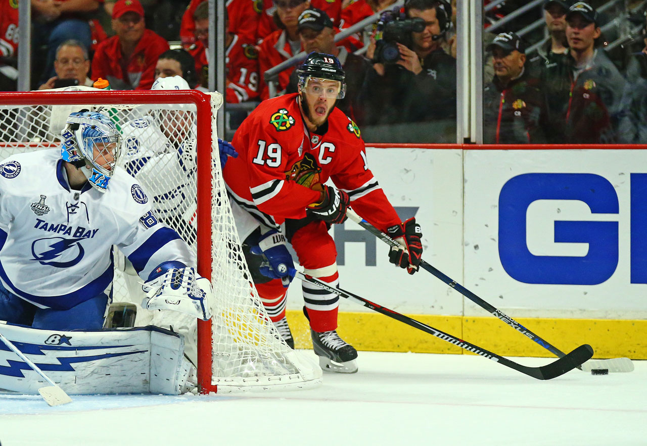Andrei Vasilevskiy keeps an eye on Jonathan Toews. Vasilevskiy.  The 20-year-old Russian goalie was forced into his first NHL playoff start after 53-game winner Ben Bishop was scratched with an undisclosed lower-body injury after hobbling through Game 3.