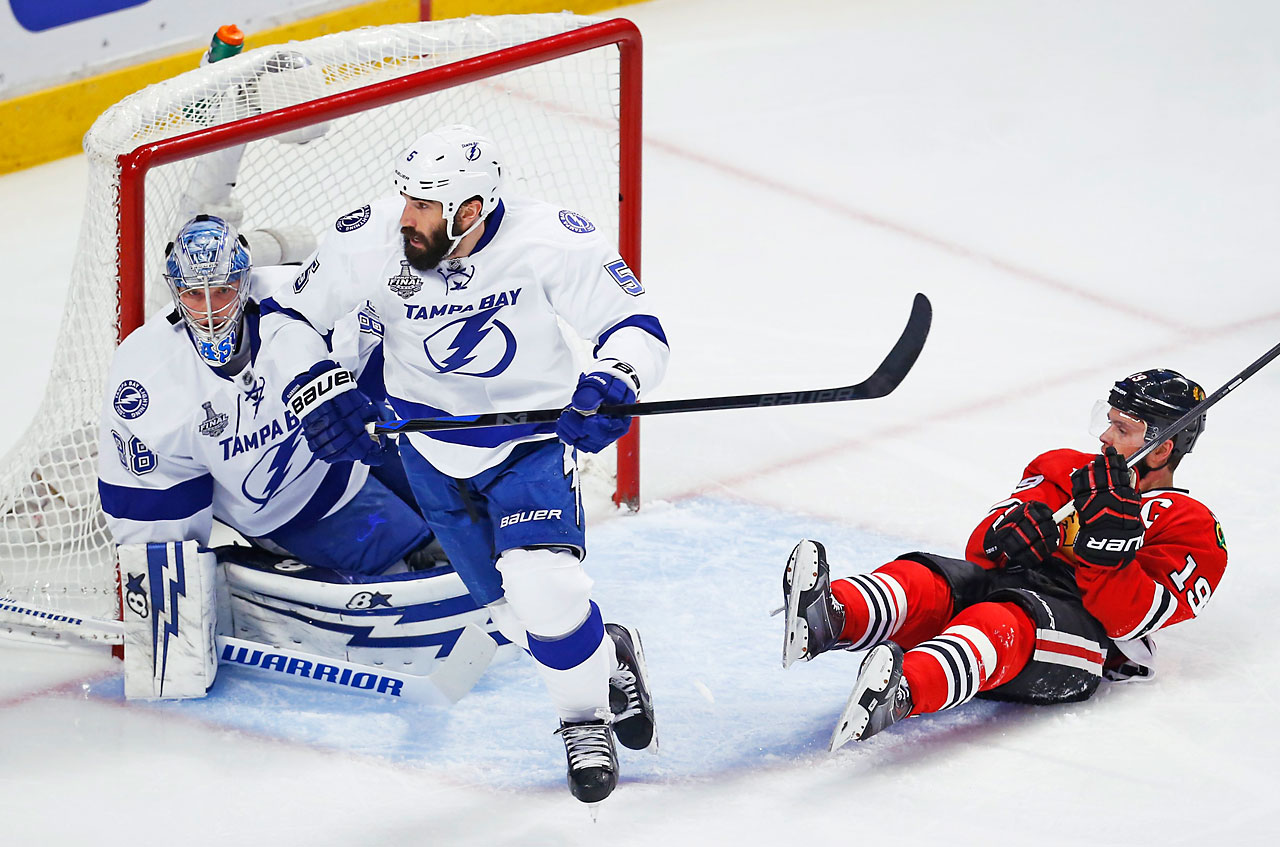 Jonathan Toews and company didn't manage a shot on Tampa's net until 8:17 into the first period, and then didn't get another for about six minutes in a tentative first period. (Text credit: AP)