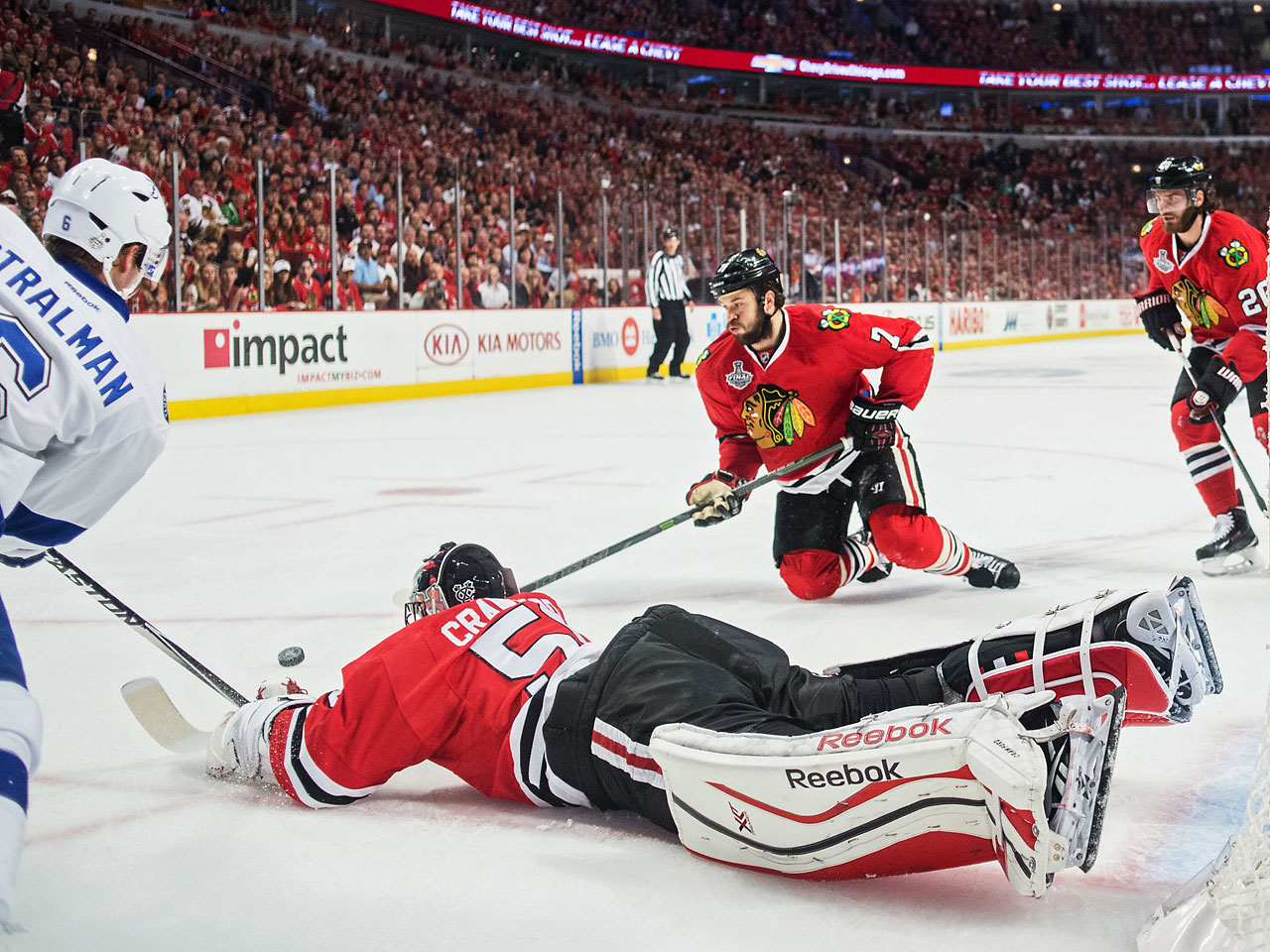The Lightning had a handful of shots in the first two periods, but unleashed a barrage on Corey Crawford in the final minutes as they searched for an equalizer.