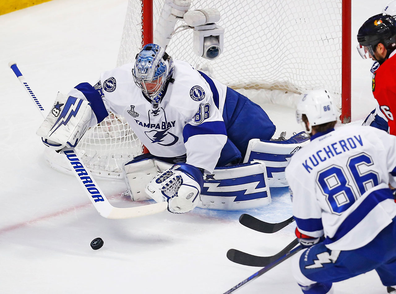 Brandon Saad scored the tiebreaking goal against Vasilevskiy with 13:38 to play and captain Jonathan Toews scored in the second period against the rookie.
