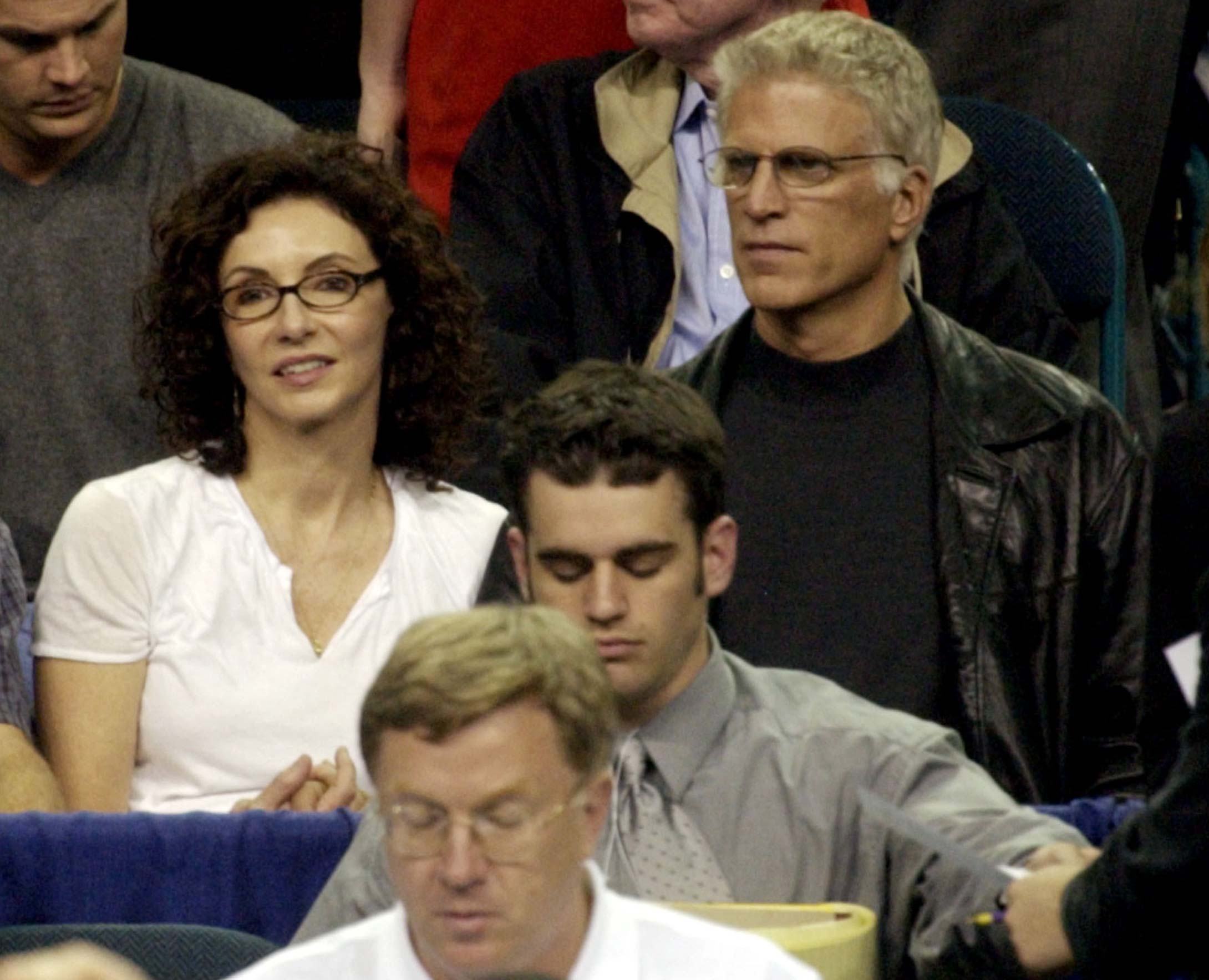 Ted Danson and his wife, Mary Steenburgen, watch Indiana play Maryland in the NCAA championship game in the Georgia Dome on April 1, 2002, in Atlanta.