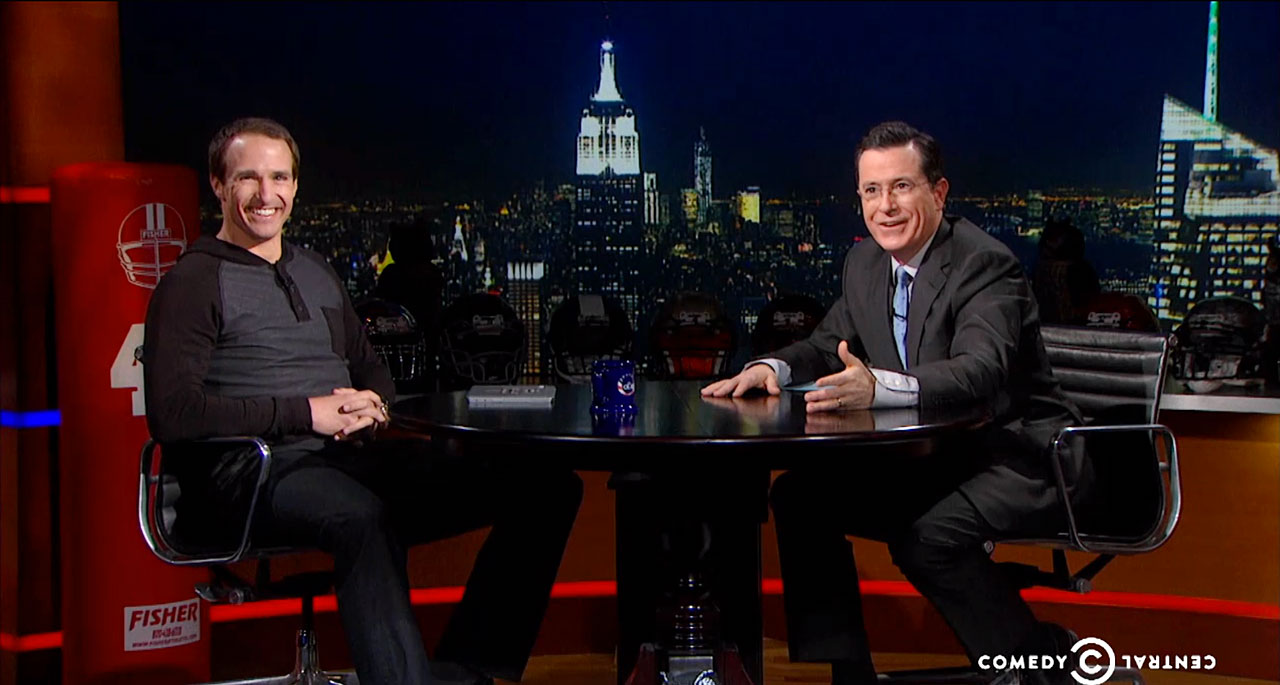 Drew Brees talks with Stephen Colbert on The Colbert Report on Jan. 30, 2014 in New York City.