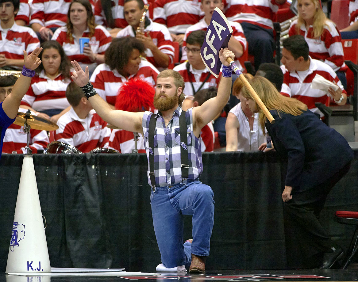 Many schools would opt for a Lumberjack costume. Not Stephen F. Austin. It simply finds the biggest dude on campus, buys him a bunch of tanning sessions, gives him a $5 flannel shirt and an axe and lets him do his thing. This mascot is minimalist and wonderful.