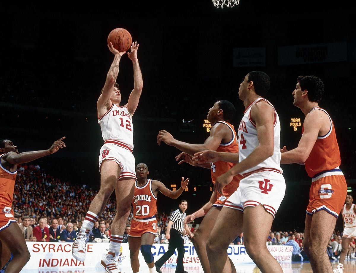 "Alford scored a school-record 2,438 points in his career, none more memorable than the 23 he scored in the 1987 NCAA championship game win over Syracuse. It was the first season of the three-point line and Alford took advantage of it by burying 7 of his 10 attempts. That put the Hoosiers in position to win the game with one of the most memorable shots in tourney history, a baseline jumper by Keith Smart. After the game, Indiana coach Bob Knight said Alford got ""more out of his ability offensively than anybody I've ever seen."" For a kid who grew up in Indiana, that's as good as it gets."