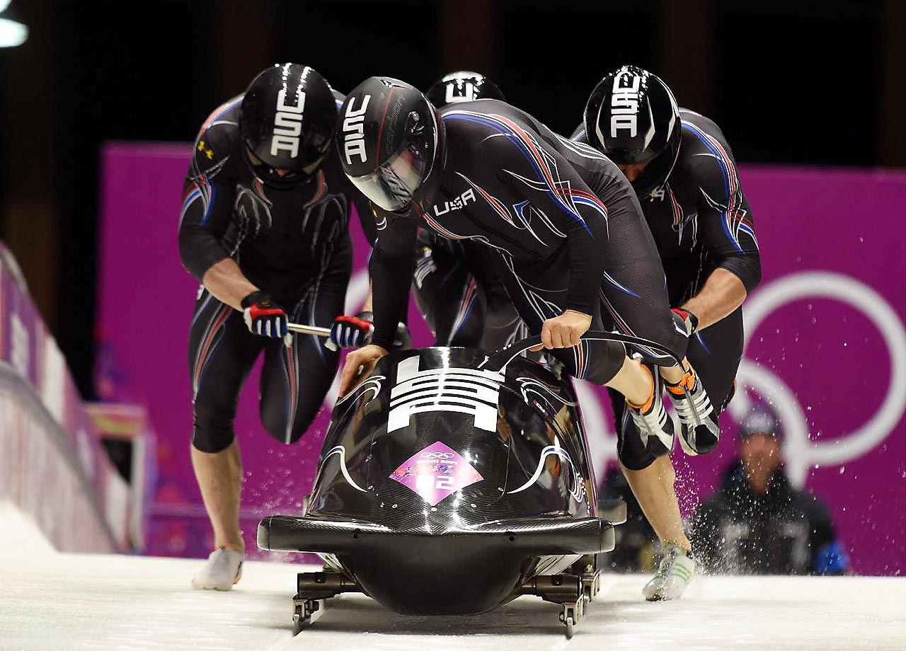 Steve Holcomb (front) starts the U.S. off in heat 2 of the four-man bobsleigh which is to be completed on Sunday. So there's some drama left to be settled on the bobsled track before closing ceremonies.