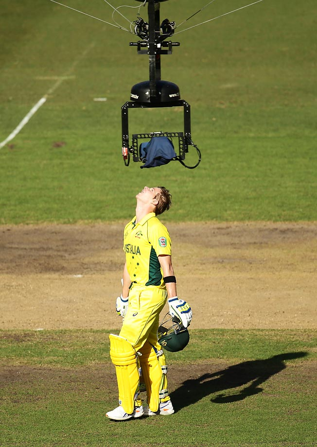 Steve Smith of Australia has a funny way of celebrating after scoring a century during a 2015 Cricket World Cup semifinal match between Australia and India.