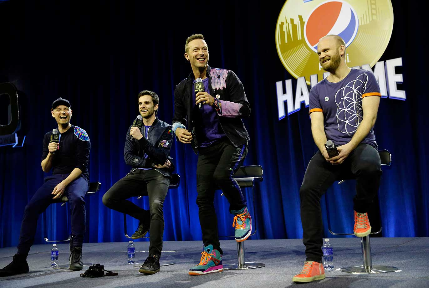 Chris Martin of Coldplay speaks during a halftime news conference on Thursday for Super Bowl 50.